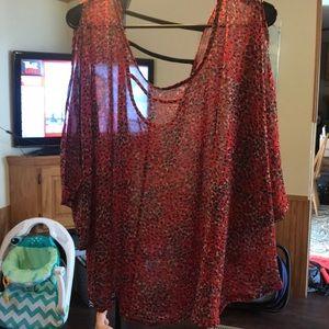 Tops - Sheer red animal print blouse